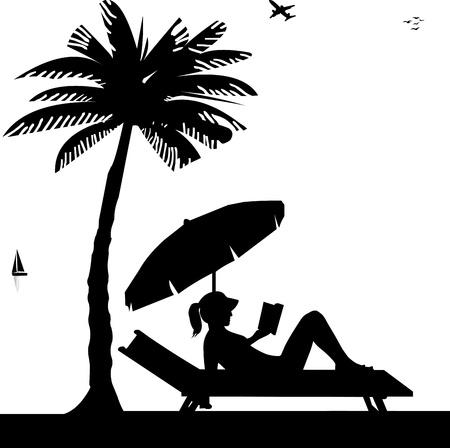 Silueta de la chica tomando el sol y leer un libro en la playa junto a las palmas de las manos, uno en la serie de imágenes similares