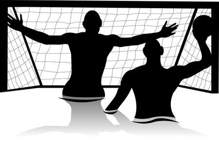 Men playing water polo silhouette Vector