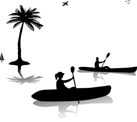 Man and woman kayaking near the palm trees silhouette, one in the series of similar images Vector
