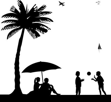 Kids playing with ball and the parents sit on the seashore under the palm tree on beach silhouette, one in the series of similar images  Vector