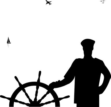 roer: Sailor aan het roer van het schip aan de zee silhouet
