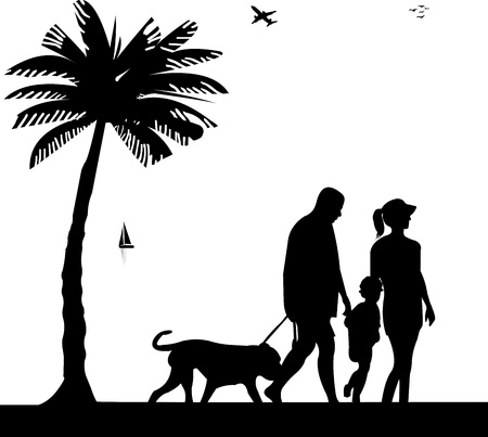 Family walking on beach with dog between the palms silhouette, one in the series of similar images  Vector