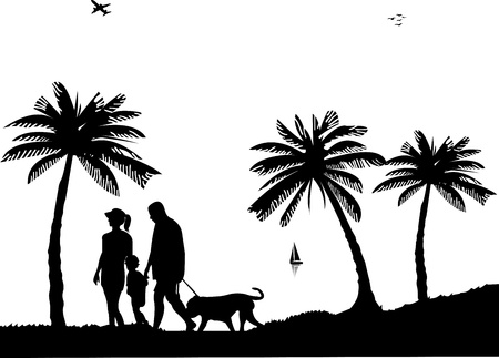 family with dog: Family walking on beach with dog between the palms silhouette, one in the series of similar images