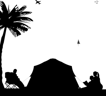 Family camping on beach under the palm tree silhouette