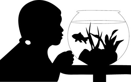 similar images:  Cute small girl looking curiously at her fish in the aquarium silhouette, one in the series of similar images
