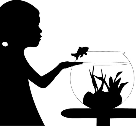 returning:  Cute small girl returning fish back into the aquarium silhouette, one in the series of similar images