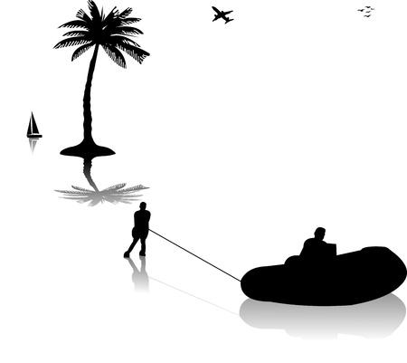moto acuatica: Hombre de esquí en el agua cerca de las palmeras silueta