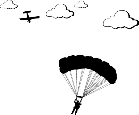 airborne vehicle:  A silhouette of a skydiver or parachutist
