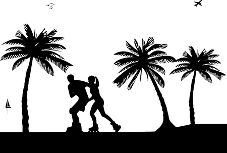 recreational vehicle: Girl and boy on roller-skates on the beach. Silhouettes on a white background , one in the series of similar images