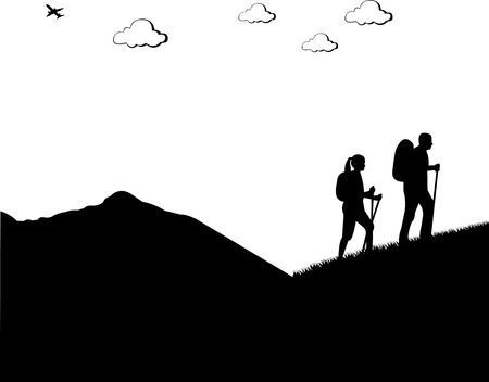 Mountain climbing, hiking couple with rucksacks silhouette, one in the series of similar images