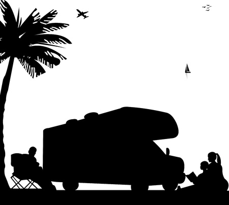 campsite: Family camping with caravan and campers on beach under the palm tree silhouette