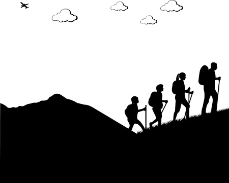 Mountain climbing, hiking family with rucksacks silhouette, one in the series of similar images