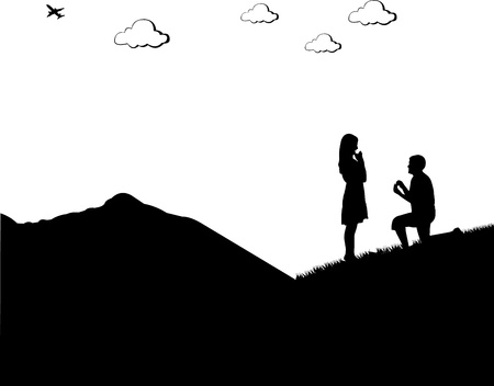 back to back couple: Romantic proposal on top of the mountain of a man proposing to a woman while standing on one knee silhouettes, one in the series of similar images