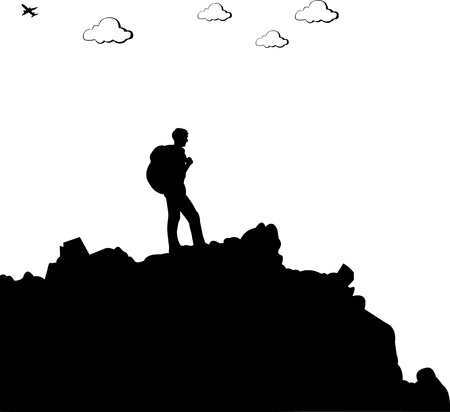 Mountain climbing, hiking man with rucksacks silhouette, one in the series of similar images