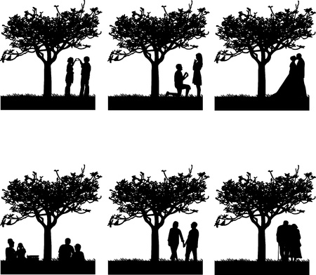 Stages of development at different stages of life silhouette Vector