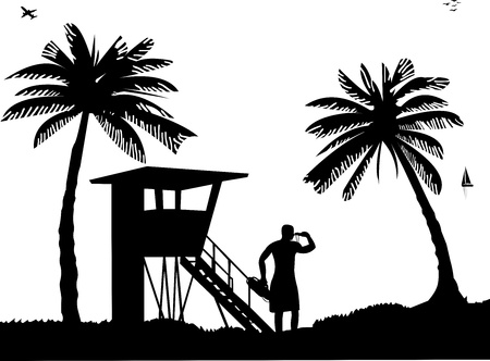 work station: Lifeguards on the beach and beach watch tower on seashore silhouette