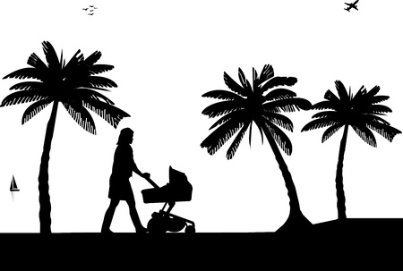 A young mother pushing the stroller and walking on the beach silhouette, one in the series of similar images Vector