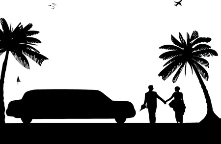 Wedding couple, groom and bride with limousine on seacoast between the palms on the beach silhouette, one in the series of similar images