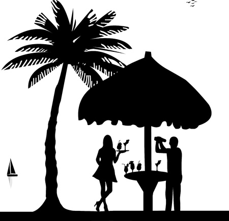 barkeeper: Bartender with cocktail shaker in drinking bar make cocktails and waiter is serving cocktails on seacoast silhouette, one in the series of similar images