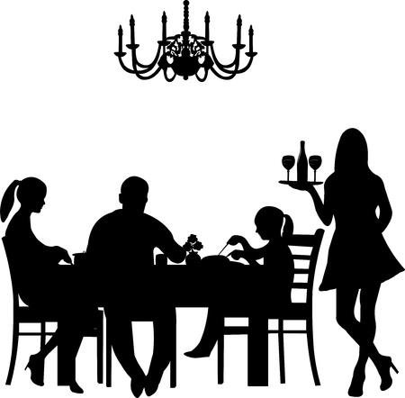 sommelier: Silueta de una escena del restaurante eran una familia de disfrutar de su cena mientras el camarero sirve el vino, uno en la serie de im�genes similares Vectores