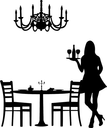 Romantic dinner for two with table and two chairs, candle decoration and candlesticks and old antique chandelier and waiter is serving the wine silhouette, one in the series of similar images Vector