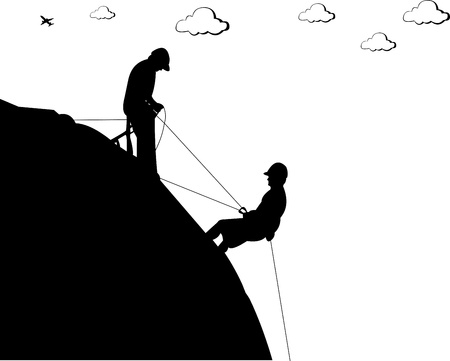 free climber: Silhouette of a rock with climbers, climbing to the goal