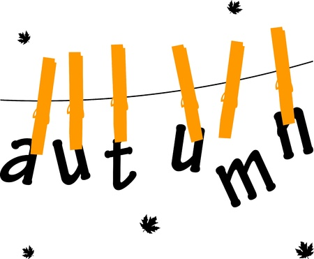 clothespins: Autumn or fall cards hanging from on a rope with clothespins, one in the series of similar images
