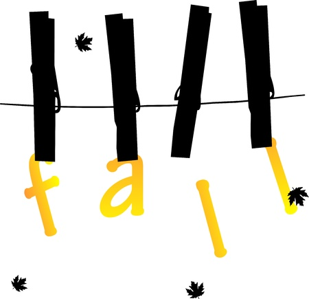 fall images: Autumn or fall cards hanging from on a rope with clothespins, one in the series of similar images Illustration