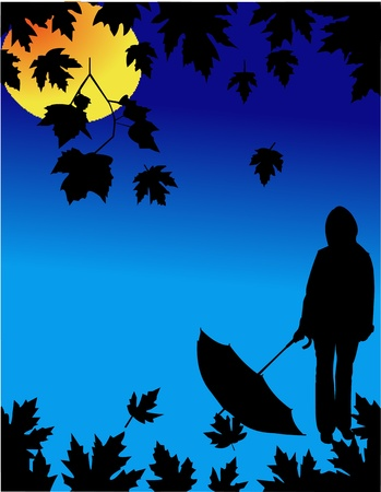 Autumn background with falling leaves and girl with umbrella under the moonlight  Vector