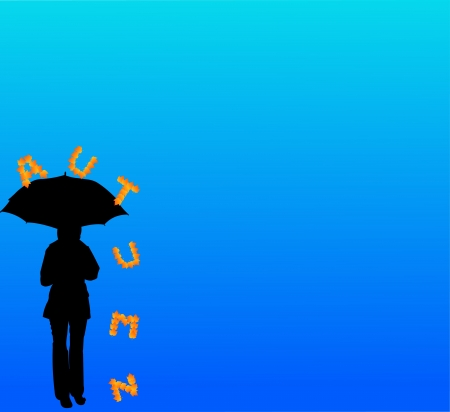 Background with girl with umbrella and letters that fall silhouette, one in the series of similar images Vector
