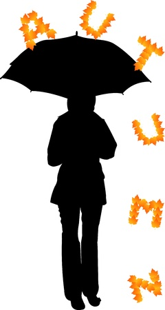 Background with girl with umbrella and letters that fall silhouette, one in the series of similar images Stock Vector - 14710564