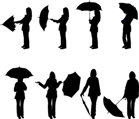 Woman with umbrella in different poses silhouette Vector