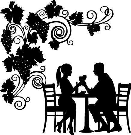silhouettes lovers: Fondo con las uvas y la pareja romántica en restaurante brindis con una copa de vino silueta capas