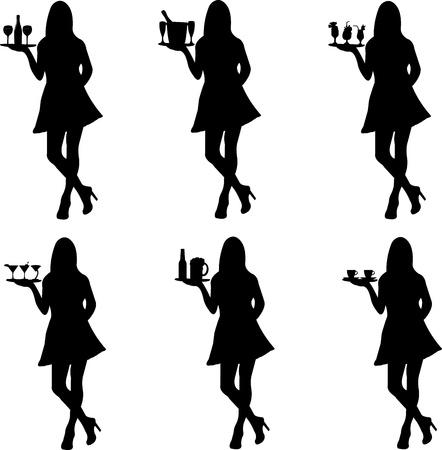Schöne sexy Kellnerin Stehen und hält ein rundes Tablett mit verschiedenen Getränken Silhouette