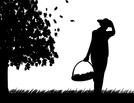 Girl hold basket of grapes on meadow in autumn or fall silhouette Vector