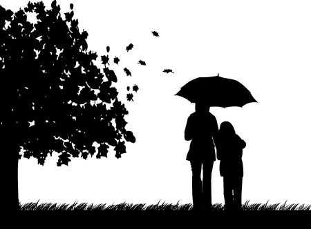 child care: Mother and daughter walking in the park under umbrella in autumn or fall silhouette, beautiful concept wallpaper  Illustration