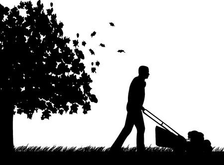 Człowiek cięcia trawnika lub kosić trawę w ogrodzie jesienią lub upadku sylwetka