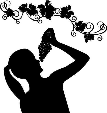 Portrait of a young girl holding grapes silhouette, isolated on white background Vector