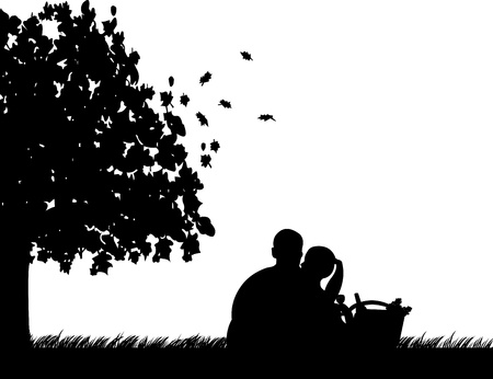 dating and romance: Sfondo con coppia seduta sotto l'albero nel parco con cesto, uva, vetro e bottiglia di vino in autunno o caduta silhouette