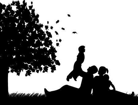 Familie picknick in het park in de herfst of vallen onder de boom silhouet Vector Illustratie