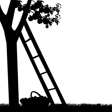 agriculture industry: Apple tree with ladder and basket of apples silhouette
