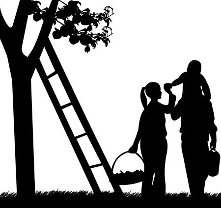 golden apple: Family picking apples from an apple tree silhouette
