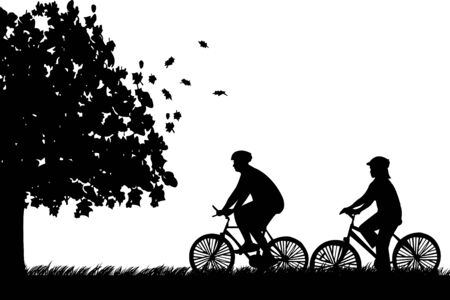 Couple bike ride in park in autumn or fall silhouette, one in the series of similar images Vector