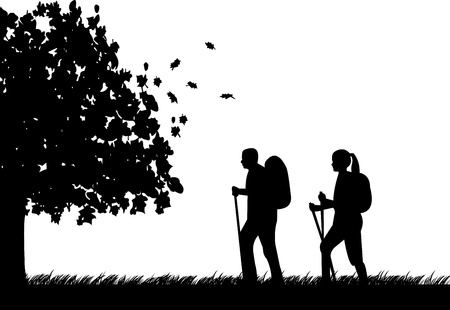 Hiking couple with rucksacks in autumn or fall silhouette, one in the series of similar images Illustration