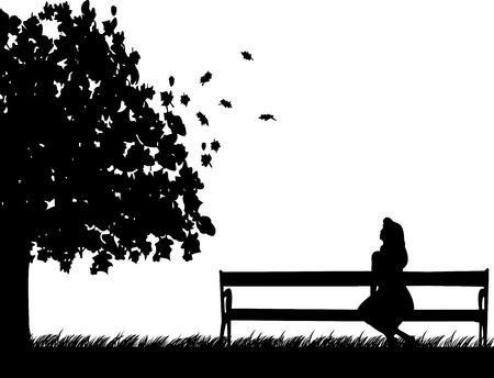 Dziewczyna siedzi na ławce w parku, czekając na kogoś spadnie lub jesienią sylwetkę Ilustracje wektorowe
