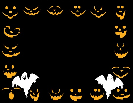 terribly: Halloween background with different faces and good and evil ghost layered