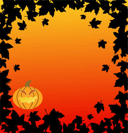 Halloween backgrounds with pumpkin and leaves  Vector
