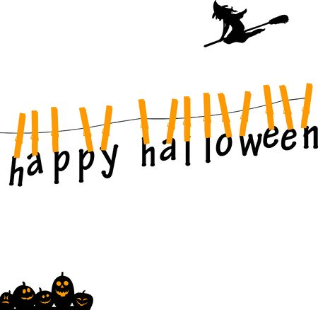 Happy halloween cards hanging from on a rope with clothespins with witch and pumpkins, one in the series of similar images silhouettes  Vector