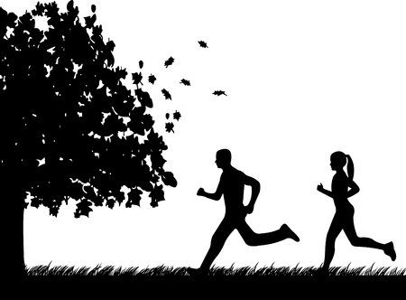 fall images: Girl and man running in park in autumn or fall silhouette, one in the series of similar images  Illustration