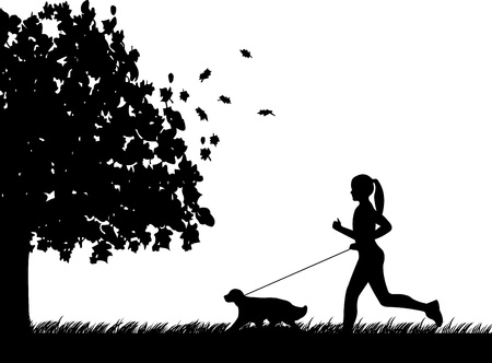 Girl running a dog in park in autumn or fall silhouette, one in the series of similar images Illustration